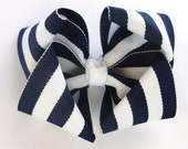 navy blue and white hair bow- stripe nautical sailor boutique hair accessories-baby infant toddler party favors
