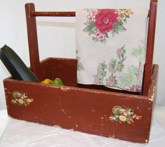 RESERVED FOR CHERYL - Vintage Chippy Wooden Handled Box, Shabby Vintage Wooden Garden Box from The Eclectic Interior