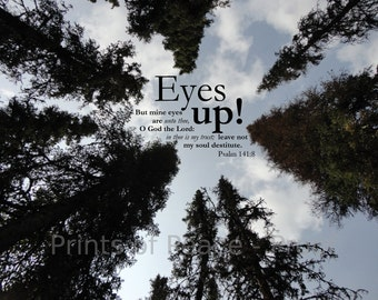 Eyes Up | But mine eyes are unto thee, O God the Lord | Psalm 141:8 KJV Scripture | 11 x  14 Print, Framed, Frameless or Canvas Wall Art