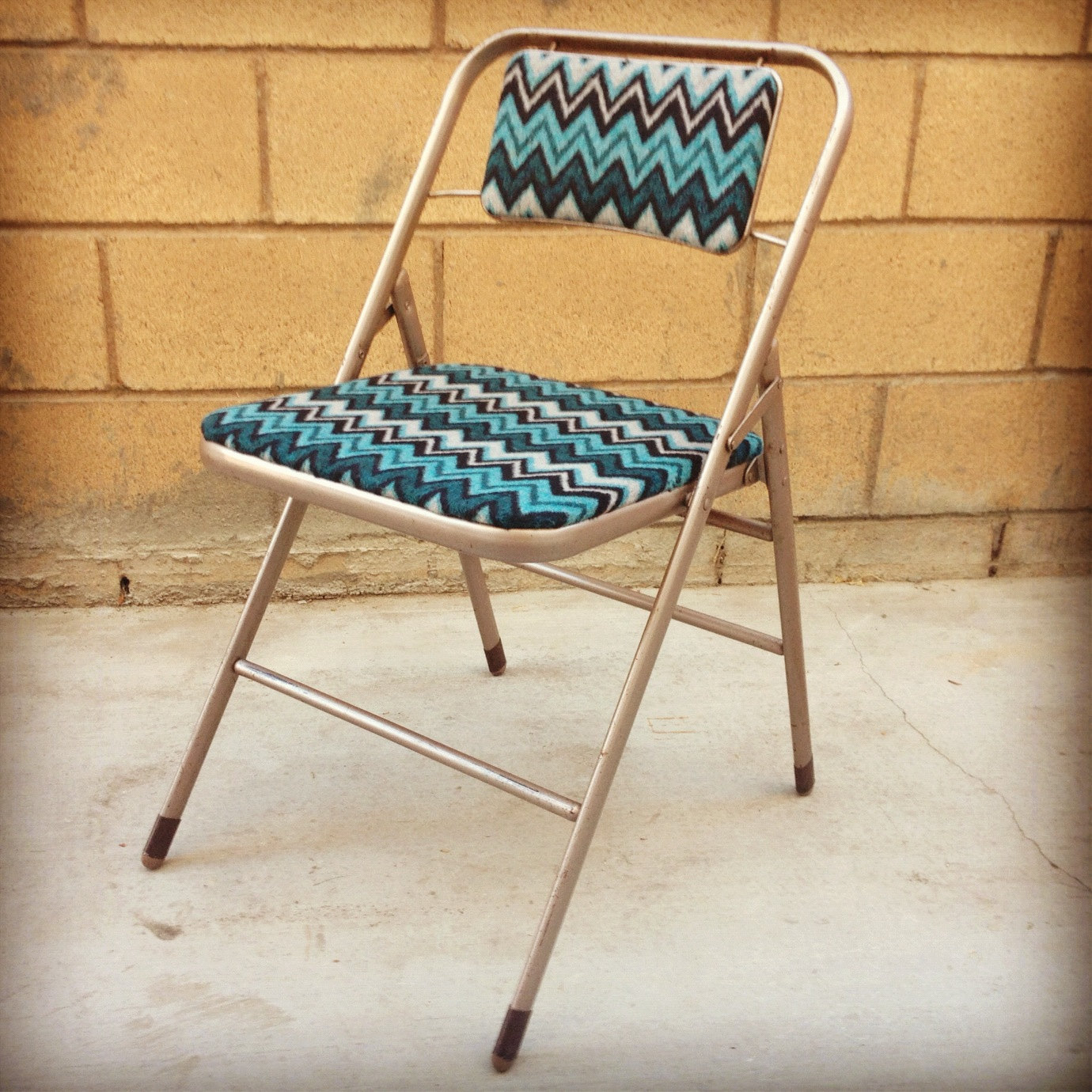 Vintage Folding Metal Samsonite Chair With New Chevron By