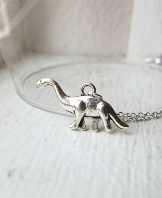 Brontosaurus Dinosaur (Long Neck) Necklace- Retro Charm Jewelry- Land Before Time- Dino- 925 Sterling Silver Chain