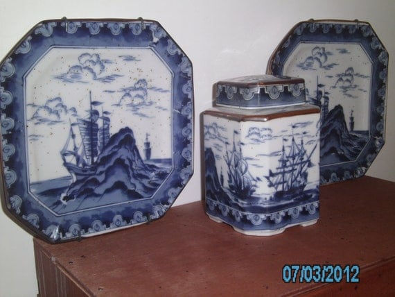 Vintage BLUE PLATE SPECIAL Ceramic Nautical Andrea by Sadek Canister & Wall Plates Cottage Style