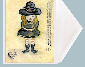 Bewitched Halloween Witch Art Greeting Card