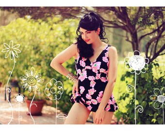 Vintage 60s Poppies Swimsuit Pink Black Mod
