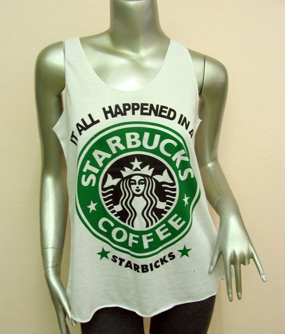Items similar to starbucks coffee t shirt women shirt tank for Best selling t shirts on etsy