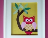 """An 8""""x10"""" fabric OWL.  A 'Hooting' OWL perfect for your nursery.  Customised and Personalised for you."""