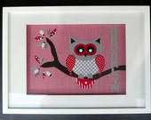 A Personalised fabric applique red and blue OWL for childs room or nursery.  Customised for you.