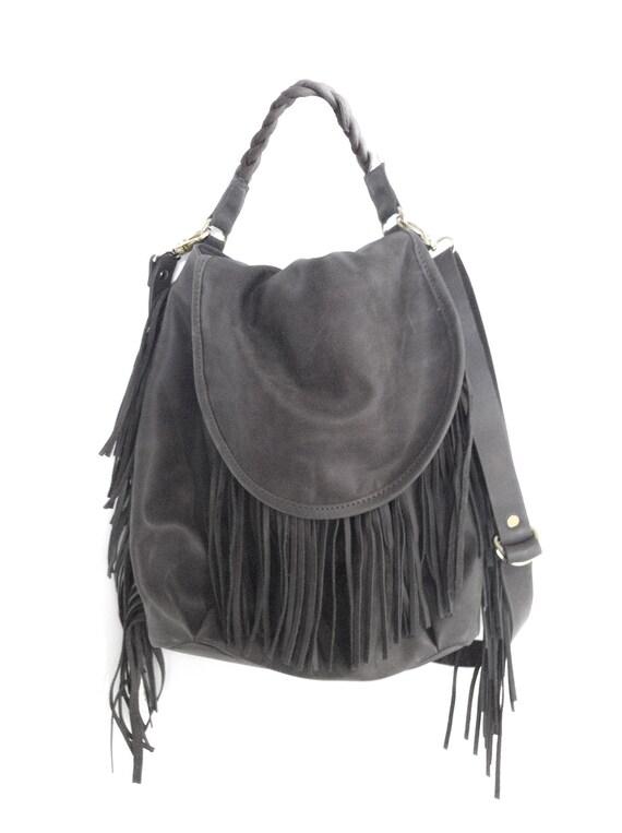 Leather bag-Fringe Hobo gray bag