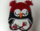 Baby Boy OWL HAT Red and Dark Gray