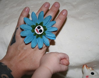 Blue Skull Flower Adjustable Ring