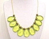 Green Statement Necklace - Translucent Lime Green Chunky Teardrop Jewelry