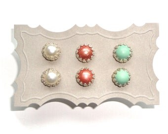 Earrings Gift Set - Small Colorful Studs - Choose Your Own Colors - Gift Idea