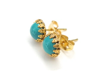 Teal Post Earrings - Cute, Tiny, Small, Basic Stud Jewelry - Bright Aqua Turquoise Gold Bezel