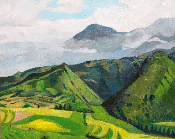"""Vietnam Mountains. Landscape. Oil on Canvas. 16"""" x 20"""". Oil Landscape."""
