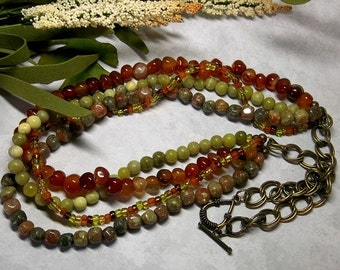 MultiStrand Earth's Gemstone Necklace