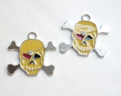 2 Halloween Skull & Crossbones large enamel charms with rhinestone antique silver 31x33mm FCW192