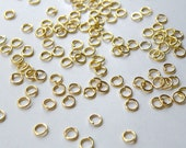 100 Jump Rings round open shiny gold 4mm 21 gauge DB00558