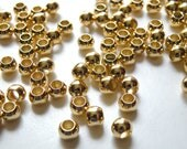 50 Round smooth ball beads gold plated brass 6mm with large 3.5mm hole 1471MB
