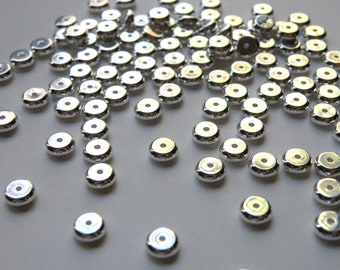 25 round heishi rondelles shiny silver plated brass spacer beads 6x3mm 9321MB