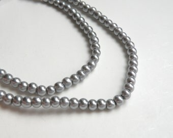 Silver grey glass pearl beads round 4mm full strand 7735GB