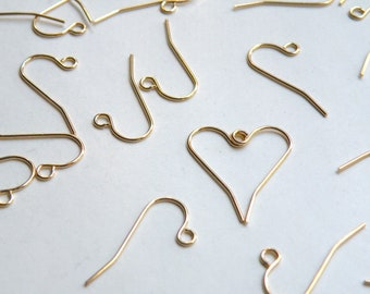 50 French Hook gold plated stainless steel fishhook earwires earrings for sensitive ears 11mm 21 gauge 1418FN