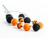 Halloween Black Orange Necklace Extra Long Felt Necklace Murano Glass Autumn Jewelry