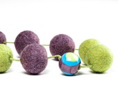 Spring Necklace Spring Jewelry Felt Neckace Lavender Green Murano Glass Spring Fashion