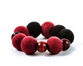 Ox Blood Red Bracelet Chunky Stretchable Beadwork Bracelet Autumn Felt Bead Jewelry - DevikaFelt