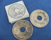 Pair Vintage FRENCH BOTTLE / Glass / Drinks COASTERS....25 Centimes Coin