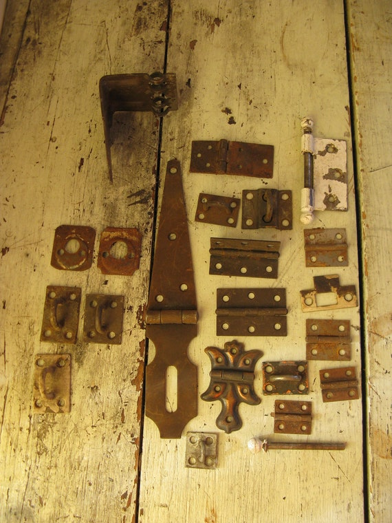 steel hinges hardware door pins assorted sizes upcycle mixed media altered art