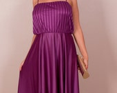 purple floor-length party dress // vertical striped top w/ spaghetti straps - a-line silhouette // vintage 80's - polyester // small