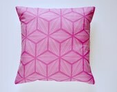 Cotton and Linen Removable Throw Pillow Cover - Magenta and White Star Pattern - 16x16 Inch