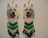 28 Hand Beaded  Laughing White wolf, Alaskan Malamute,  Husky dog earrings with turquoise & black in fringe