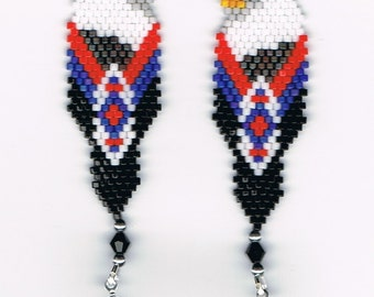 Beautiful Hand Beaded Bald Eagle in Feather dangling earrings and silver feather dangle