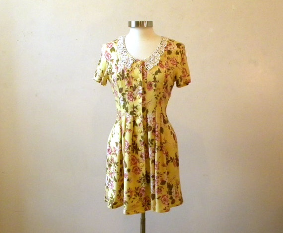 Zooey Deschanel Style Dress / 80s / Yellow Floral Summer Dresses / M