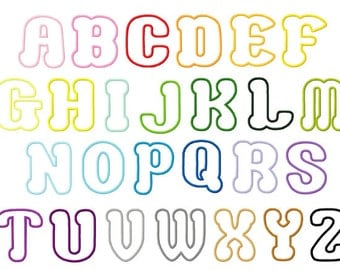 Choco letters small 1.75, 2, and 3 inch letters applique design digital instant download