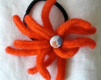 Wool Flower Ponytail Band in orange