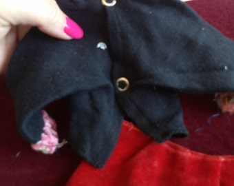 """REDUCED  2 Piece Black Top and Velveteen Red Pants for 18"""" Doll"""