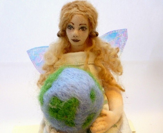 Art cloth doll fairy fabric angel needle felt  earth soft sculpture  Earth Angel