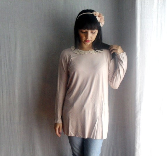 Pink blush tshirt tunic pink long tunic womens tshirt lace blouse