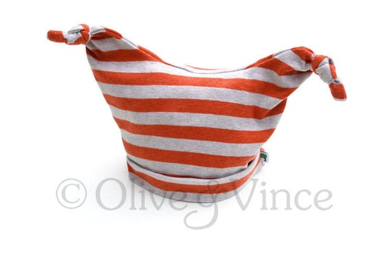 SALE - Tangerine orange toddler hat striped - SIZE 0-3 months - Ready to ship