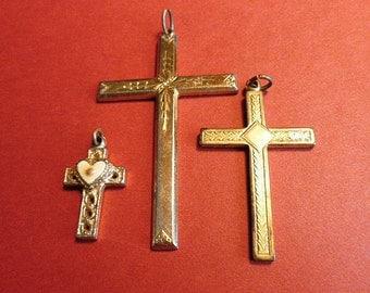 THREE 1980s Goldtone Cross Pendants, Vintage Cross Craft Supplies, Vintage Goldtone Crosses