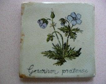 Handmade Ceramic Tile - Blue Geranium Botanical BotanicaL