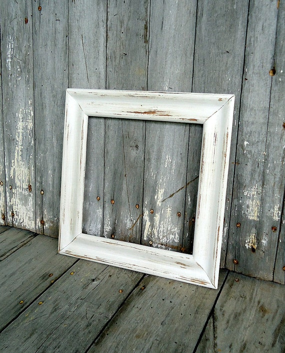Vintage Frame Wood White Wooden Picture Empty Cream Square