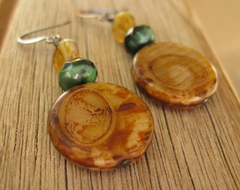 Brown and green disk earrings, amber and green, tan yellow earrings, hostess gift, Mother's Day gift