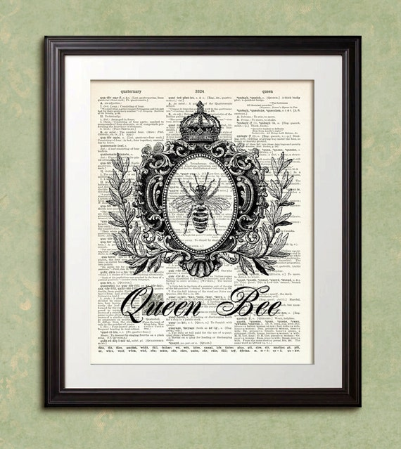Items Similar To Dictionary Print Queen Bee Crown French Paris Dictionary Art Print Poster