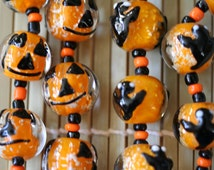 Halloween Jack O Lantern or Ghost Glow In Dark Pumpkin Lampwork Glass Beads(Pack of 12 beads)L01012