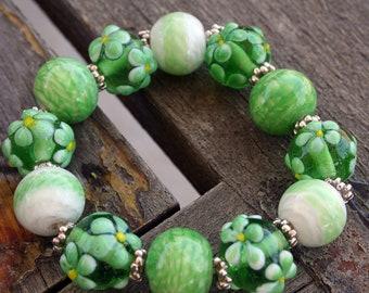 Spring Season Design Lampwork Glass Bracelet Bead Set (12 beads pack)