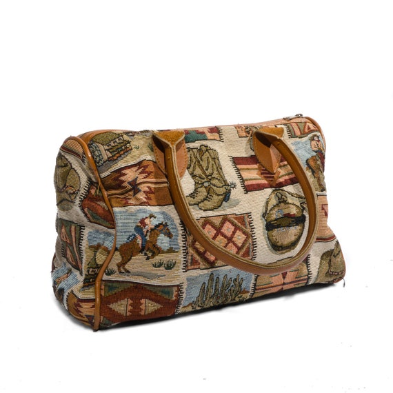 Western Themed Tapestry Handbag Mini Duffle Cowgirl Rodeo Fashion Brown Leather Trim