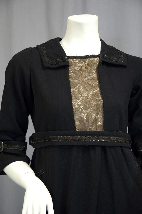 Gorgeous Edwardian 1910s Dress, Metallic Lace trim, Navy Blue wool Gabardine, MOP buckles, POIRET Style